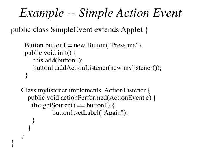 Example -- Simple Action Event