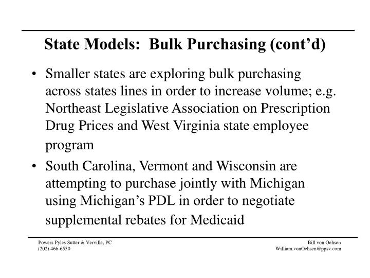 State Models:  Bulk Purchasing (cont'd)