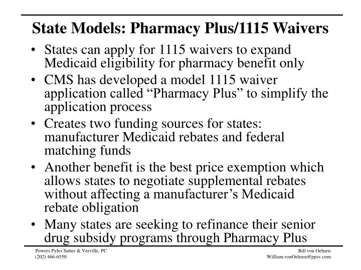 State Models: Pharmacy Plus/1115 Waivers