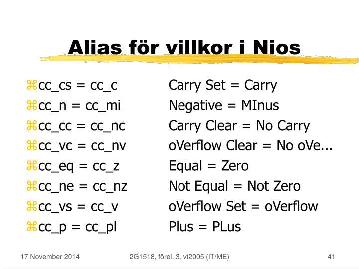 Alias för villkor i Nios