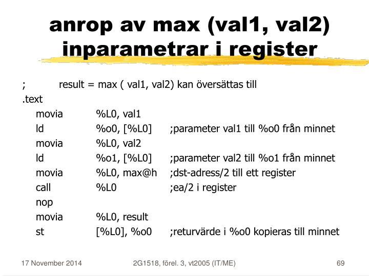 anrop av max (val1, val2)