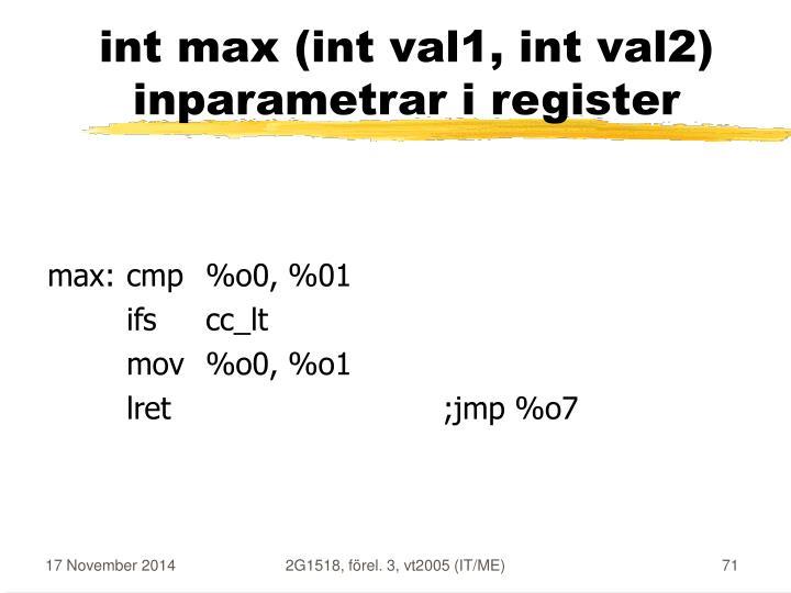 int max (int val1, int val2)