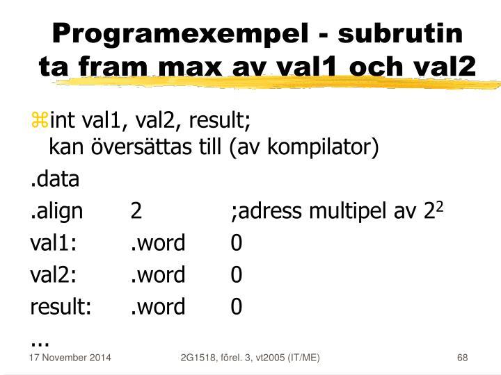 Programexempel - subrutin