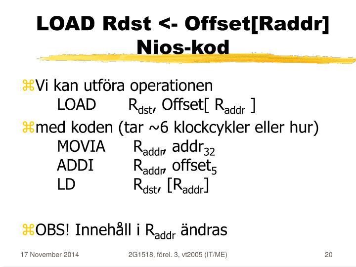 LOAD Rdst <- Offset[Raddr]
