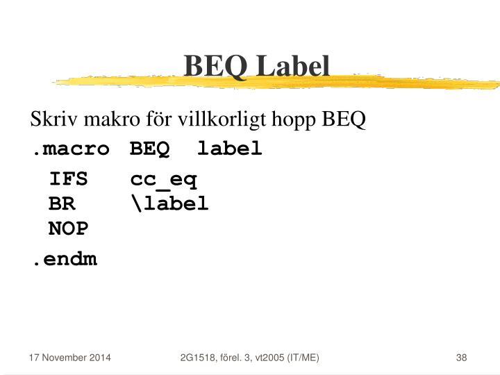 BEQ Label