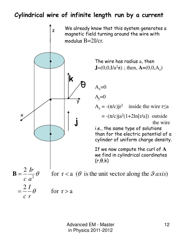 Cylindrical wire of infinite length