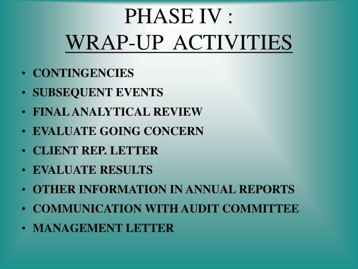 Phase iv wrap up activities