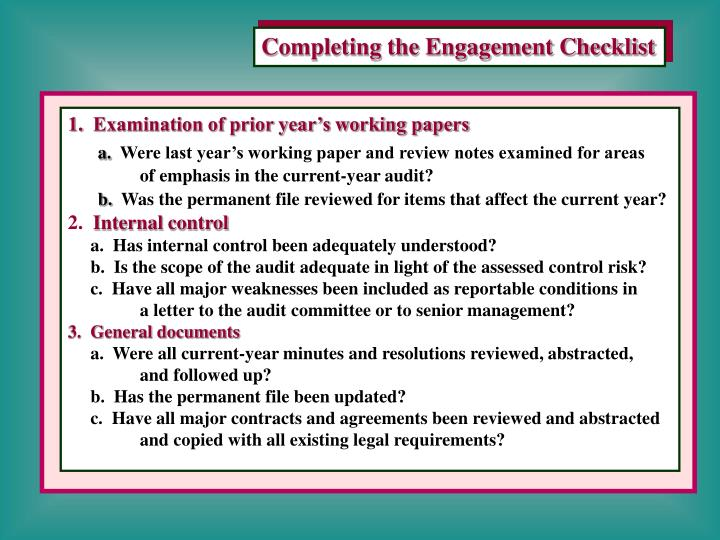 Completing the Engagement Checklist