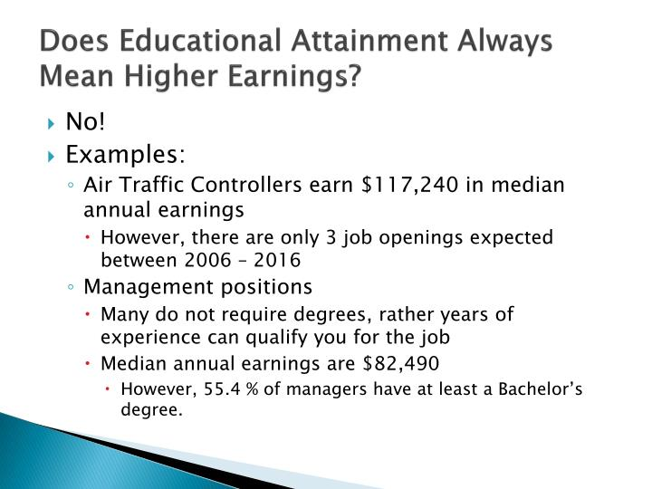 Does Educational Attainment Always  Mean Higher Earnings?