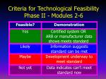 criteria for technological feasibility phase ii modules 2 6