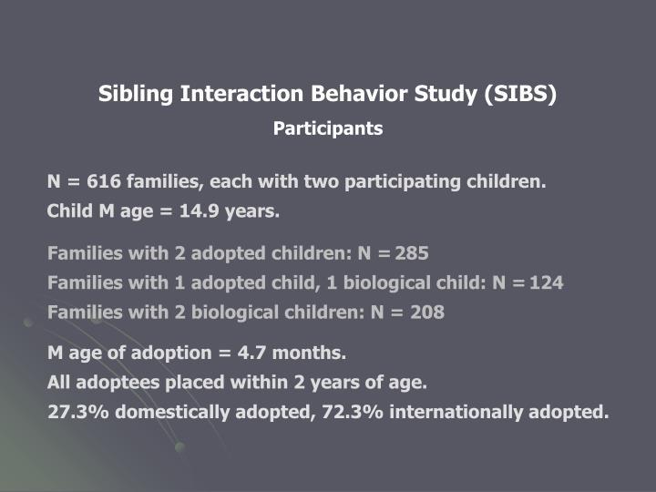 Sibling Interaction Behavior Study (SIBS)