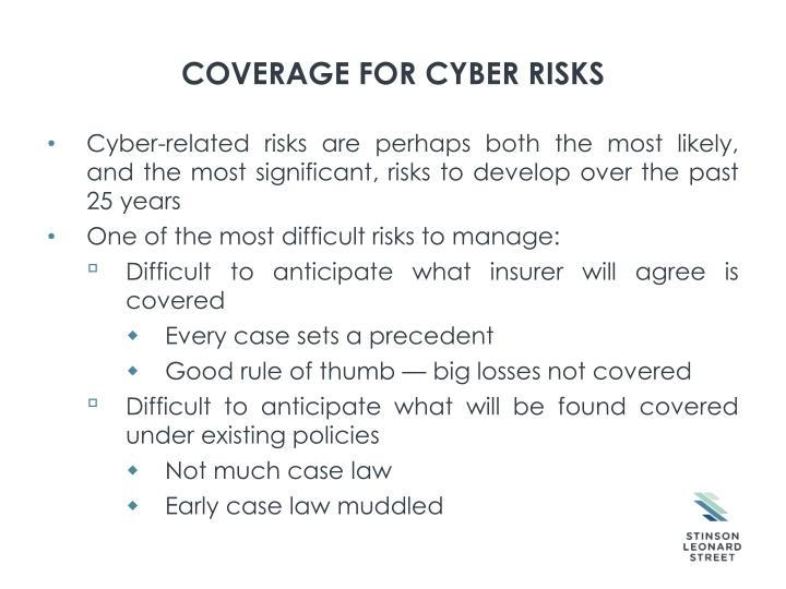 COVERAGE FOR CYBER RISKS