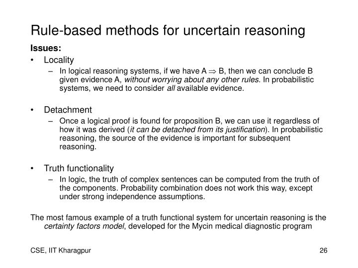 Rule-based methods for uncertain reasoning