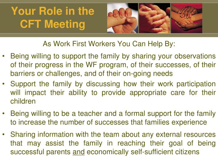 Your Role in the CFT Meeting