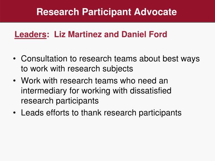 Research Participant Advocate