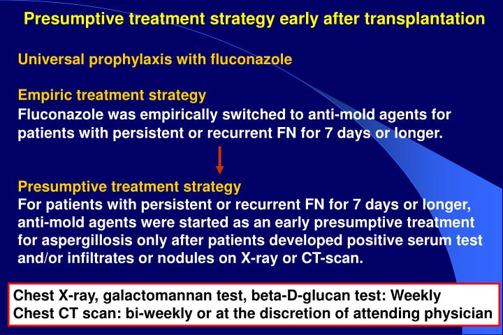 Presumptive treatment strategy early after transplantation