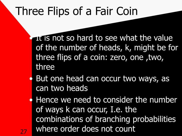 Three Flips of a Fair Coin