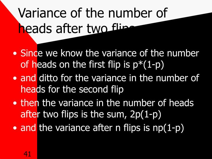 Variance of the number of heads after two flips