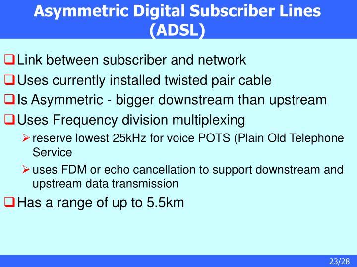 Asymmetric Digital Subscriber Lines (ADSL)