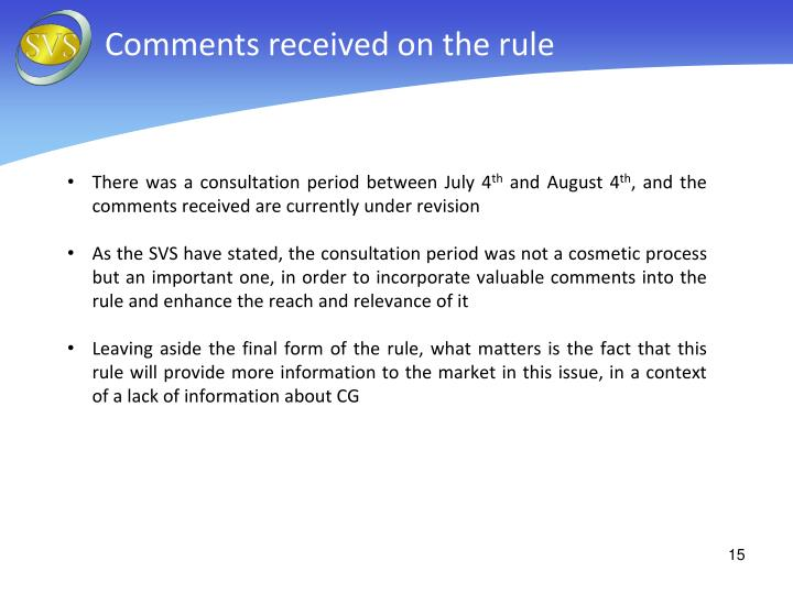 Comments received on the rule