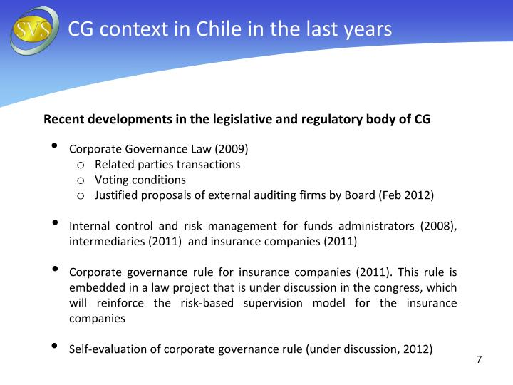 CG context in Chile in the last years