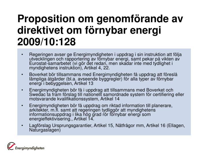 Proposition om genomförande av direktivet om förnybar energi 2009/10:128