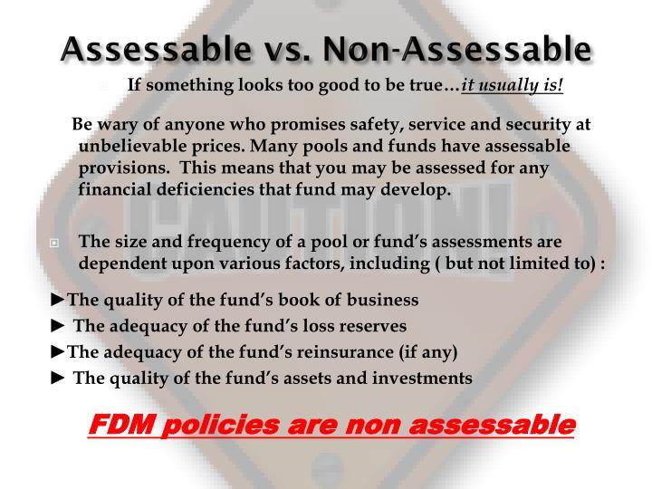 Assessable vs. Non-Assessable