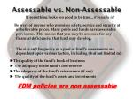 assessable vs non assessable