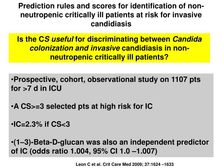 Prediction rules and scores for identification of non-neutropenic critically ill patients at risk for invasive candidiasis