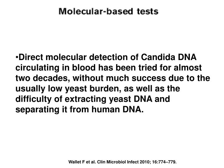 Direct molecular detection of Candida DNA circulating in blood has been tried for almost two decades, without much success due to the usually low yeast burden, as well as the difficulty of extracting yeast DNA and separating it from human DNA.