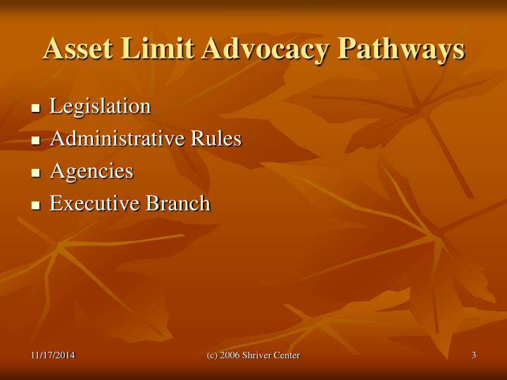 Asset limit advocacy pathways