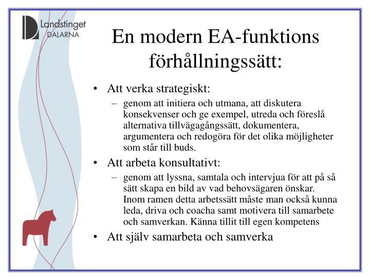 En modern EA-funktions förhållningssätt: