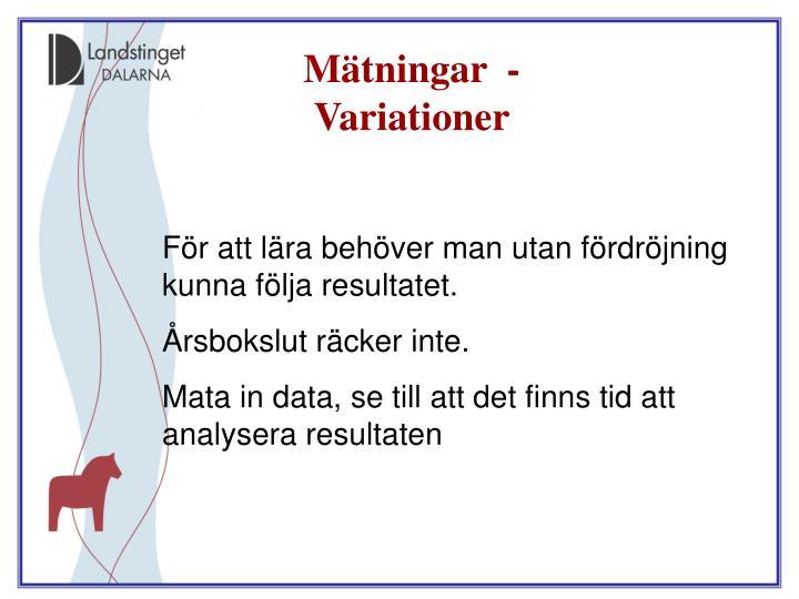 Mätningar  -  Variationer