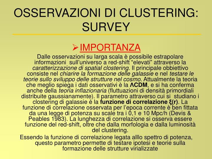 OSSERVAZIONI DI CLUSTERING: SURVEY