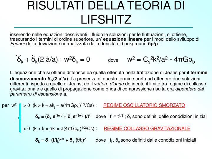 RISULTATI DELLA TEORIA DI LIFSHITZ