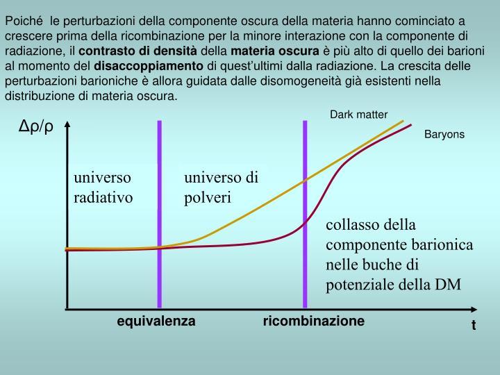 Poiché  le perturbazioni della componente oscura della materia hanno cominciato a crescere prima della ricombinazione per la minore interazione con la componente di radiazione, il