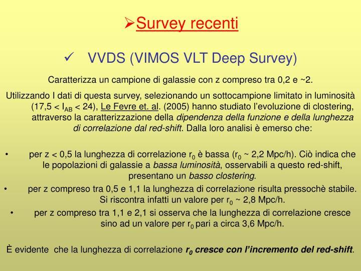 Survey recenti