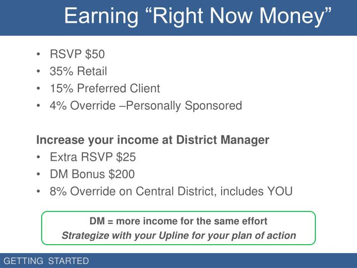 "Earning ""Right Now Money"""