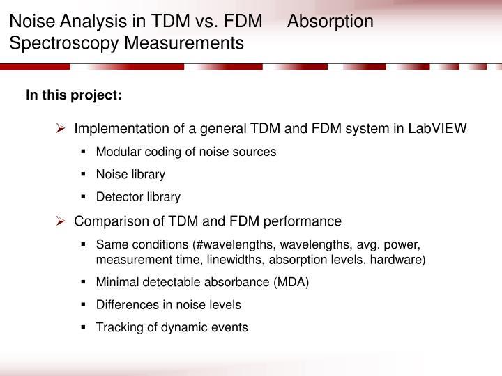 Noise Analysis in TDM vs. FDM     Absorption Spectroscopy Measurements