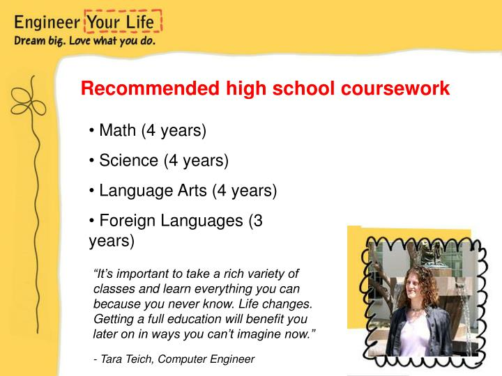 Recommended high school coursework