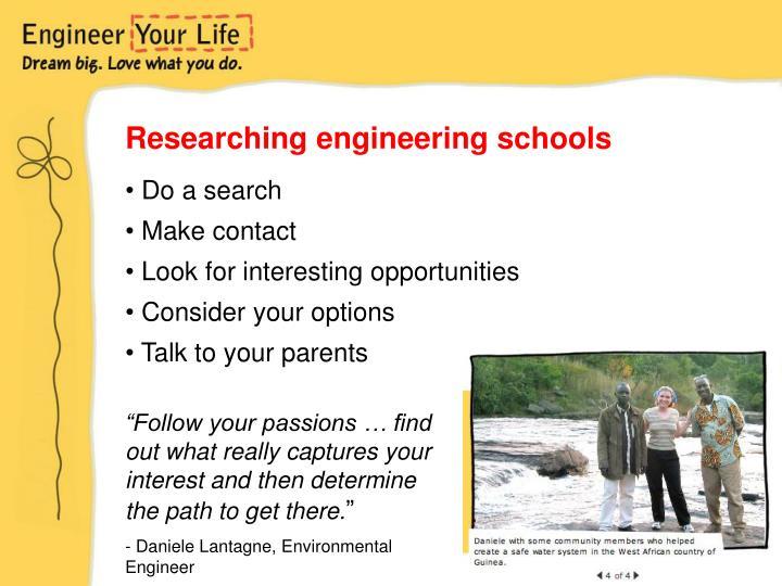 Researching engineering schools