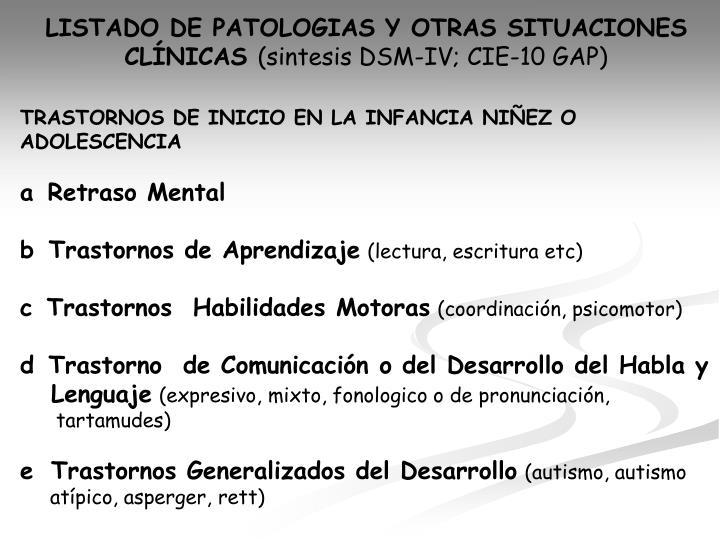 LISTADO DE PATOLOGIAS Y OTRAS SITUACIONES
