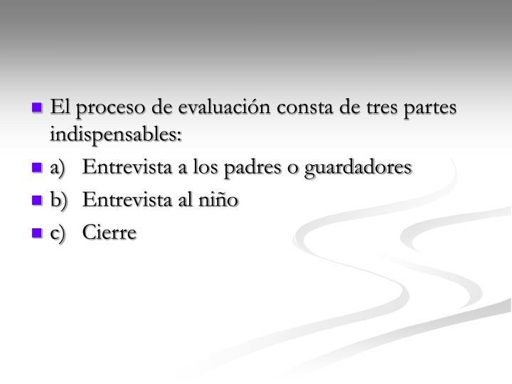 El proceso de evaluación consta de tres partes indispensables: