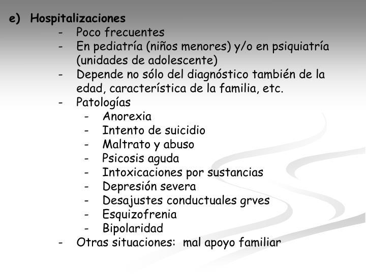 e)  Hospitalizaciones
