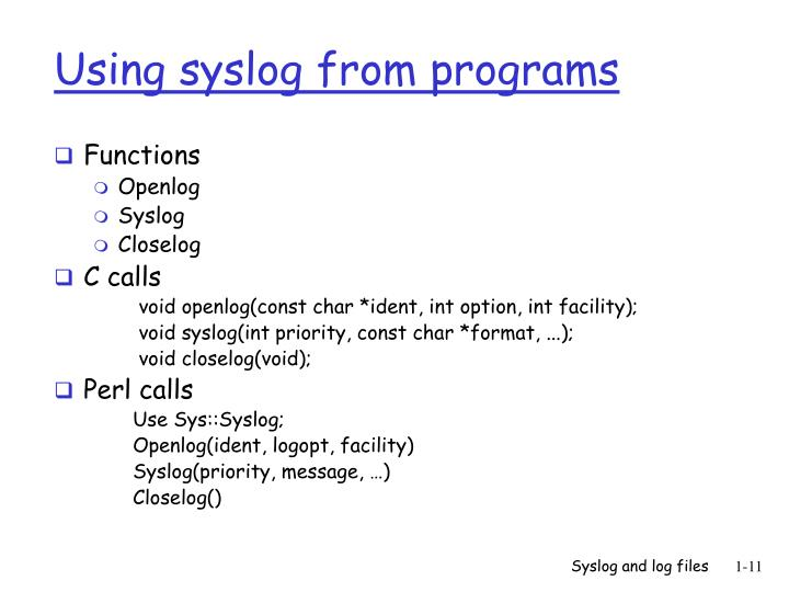 Using syslog from programs