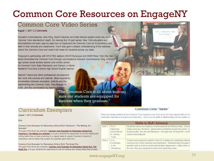 Common Core Resources on EngageNY