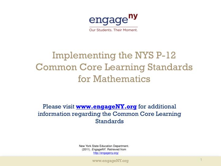 implementing the nys p 12 common core learning standards for mathematics