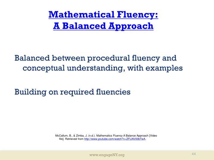 Mathematical Fluency:
