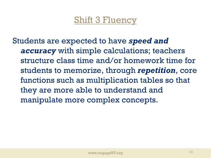 Shift 3 Fluency