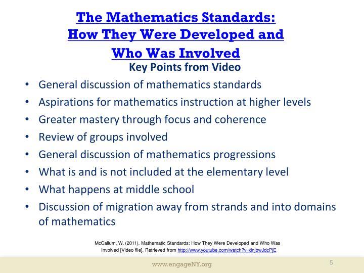 The Mathematics Standards: